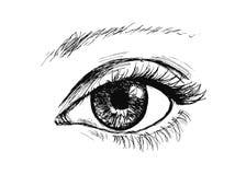 Main dessinant l'oeil Images libres de droits