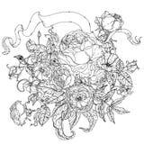 Main dessinant la cartouche héraldique Rebecca 36 Mandala de fleur Photographie stock libre de droits