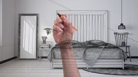 Main dessinant la chambre à coucher scandinave minimaliste moderne faite sur commande avec la tête de lit en bois Interio non fin photos stock