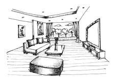 Main dessinant la conception intérieure pour le salon Photographie stock