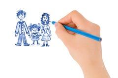 Main dessinant la famille heureuse Photographie stock libre de droits