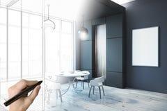 Main dessinant la salle à manger moderne avec l'affiche illustration libre de droits