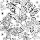 Main dessinant le modèle sans couture des papillons Dirigez le modèle sans couture des papillons pour l'anti page de coloration d illustration stock