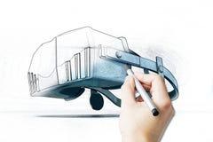 Main dessinant le simulateur de VR illustration de vecteur
