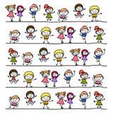 Main dessinant les enfants heureux de bande dessinée abstraite Images libres de droits