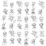 Main dessinant les enfants heureux de bande dessinée abstraite Photos libres de droits