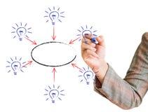 Main dessinant une ampoule de graphique Photos libres de droits