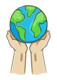 Main deux tenant la terre de planète illustration stock