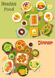 Main dinner dishes with appetizers icon set Royalty Free Stock Photo