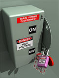 Main Disconnect Looked Out. Main Power Disconnect locked out for service, inspection, or installation Lockout tagout royalty free illustration