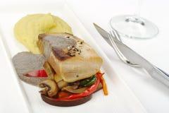 Main Dish: Mediterranean Tuna with Mashed Potato Stock Image