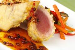 Main dish: Raw Tuna Fish with Pepper Gravy Stock Images