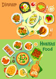 Main dishes for lunch and dinner icon set Royalty Free Stock Image