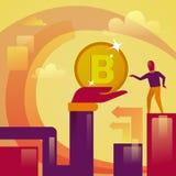 Main donnant à argent de Web de Bitcoin Digital d'homme le crypto concept de devise Images stock