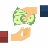 Main donnant l'argent à l'autre main Transferts, achats et vente d'argent dans le style plat Illustration de vecteur Photos stock