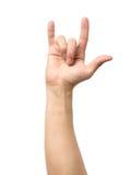 Main donnant le geste de klaxons de diable Images libres de droits