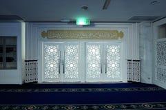 Main door of Puncak Alam Mosque at Selangor, Malaysia. SELANGOR, MALAYSIA – JANUARY 05, 2015: Puncak Alam Mosque located at Puncak Alam, Selangor royalty free stock images