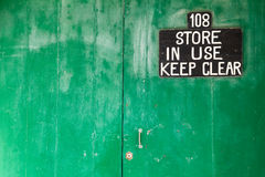Main door of store..keep clear!! Royalty Free Stock Image