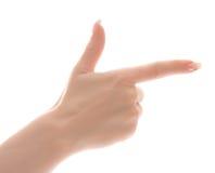 Main droite avec l'indication par les doigts ou la prétention à s Image libre de droits