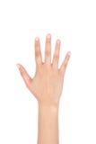 Main droite de femme montrant les cinq doigts d'isolement photos stock