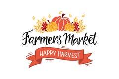 Main du marché d'agriculteurs marquant avec des lettres la typographie illustration stock