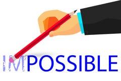 Main - effaçant le texte impossible avec le crayon - illustration pour que la façon change impossible en chose possible au fond b Image libre de droits