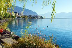 The main embankment of the Lake Geneva, the famous town of Montreux, Switzerland stock images