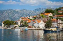 Main embankment of Perast town,Kotor Bay Royalty Free Stock Image