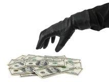 Main en gant et argent Photos libres de droits