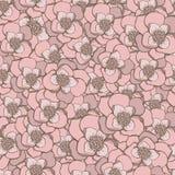 Main en pastel dessinant le modèle sans couture de fleurs roses Illustration de Vecteur