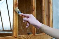 Main en peinture rose de cadre de peinture de latex de gant Photographie stock libre de droits