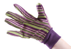 Main enfilée de gants image libre de droits