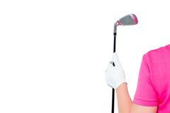 Main enfilée de gants de photo horizontale avec un club de golf et un espace Photos libres de droits
