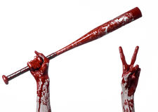 Main ensanglantée tenant une batte de baseball, une batte de baseball ensanglantée, batte, sport de sang, tueur, zombis, thème de Photos stock