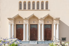Main enterance of the Dutch Reformed Church in Riviersonderend Royalty Free Stock Images