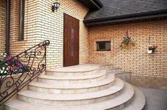 Main entrance. In a modern brick cottage Stock Images