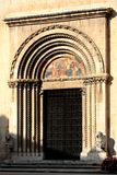 Main entrance. Detail of main entrance of cathedral captured in Visso / Marche / Italy Stock Photo