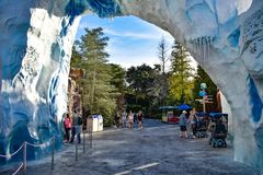 Main entrance of Antarctica area at Seaworld in International Drive area 2 stock photo
