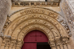 Main entrance of Aulnay de Saintonge church Stock Images