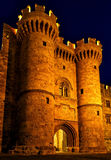 Main entrance of the castle Rhodes in the night, Grand master`s Palace. Main entrance of castle of Rhodes in the night, Grand master`s Palace stock images