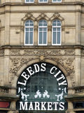 Main entrance and door of leeds city market. Building stock photos