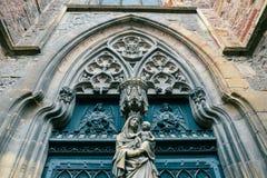 Main entrance door at the St Martin's Church,  Colmar France Stock Image
