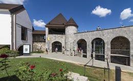 Main entrance through the drawbridge of the Ljubljana Castle, Slovenia royalty free stock photo