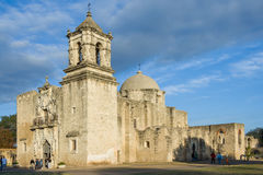Main entrance and Facade of Mission San Jose in San Antonio, Texas at  Sunset Royalty Free Stock Photography