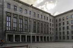Main entrance of the Federal Ministry of Finance, Berlin, Germany stock images
