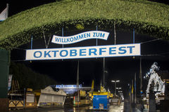 Main entrance gate to the Oktoberfest fairground in Munich, Germ Stock Image