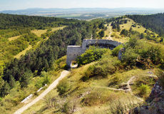 Main entrance gate to ruined Castle of Cachtice stock photography