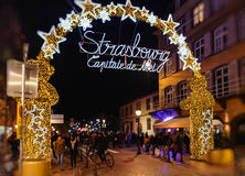 Main entrance gate to Strasbourg Christmas market Royalty Free Stock Photos