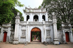 Main entrance gate to the temple of Literature. HANOI - JULY 20: Main entrance gate to the temple of Literature on July 20, 2012 in Hanoi, Vietnam. The temple of Royalty Free Stock Photos