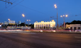 Main entrance of Gorky Park in Moscow, Russia Night view. Royalty Free Stock Image